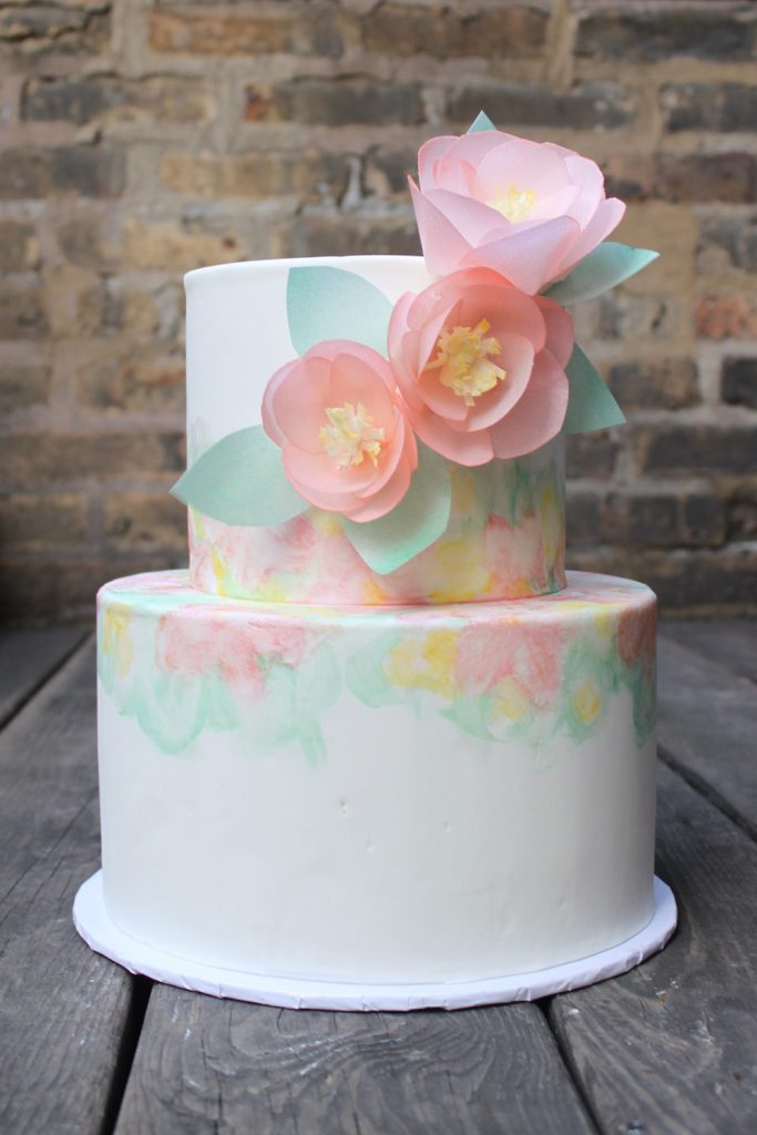 Watercolor with Floral Wedding Cake