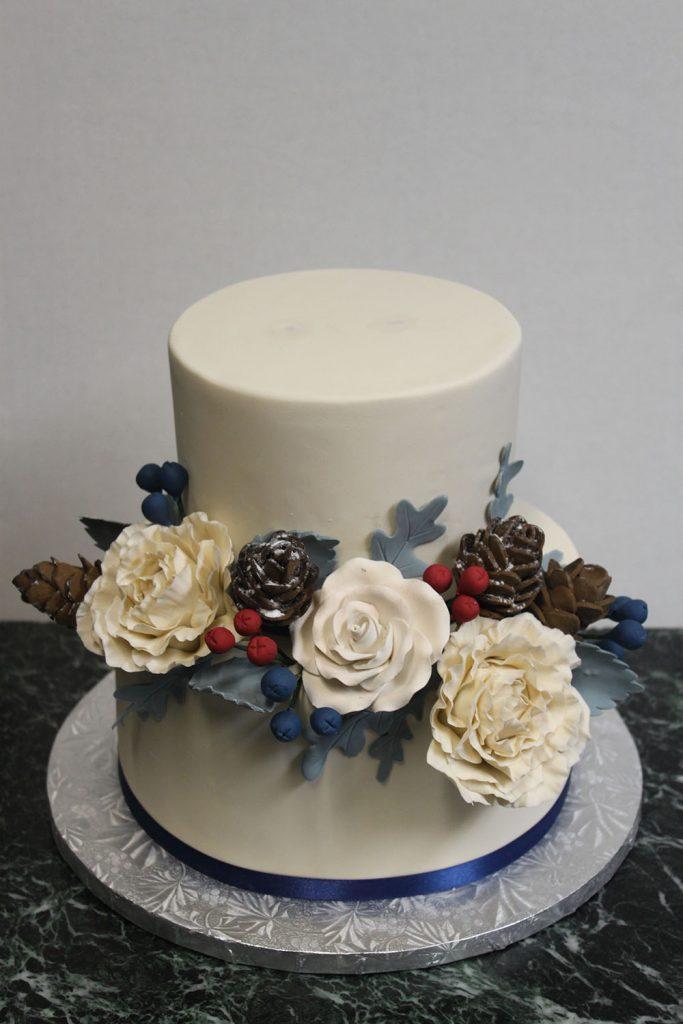 Winter Floral Wedding Cake