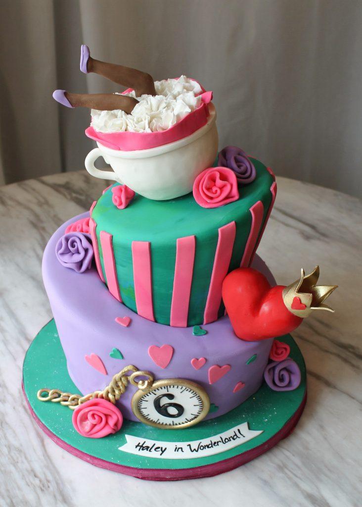 Colorful Alice in Wonderland Cake