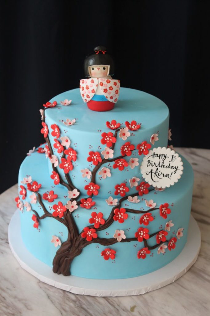 Red and Blue Cherry Blossom Tree Cake