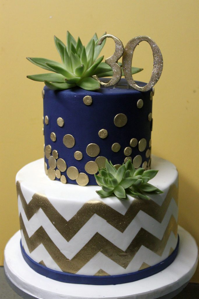 Succulents and Gold Chevron Cake