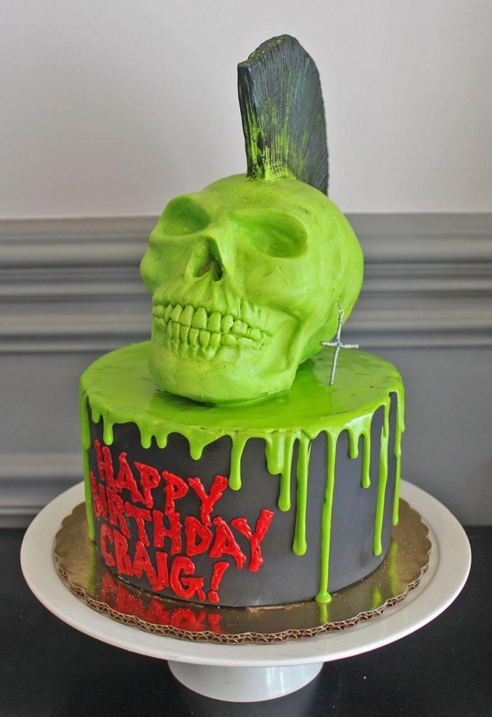 Green Drip Skull Cake