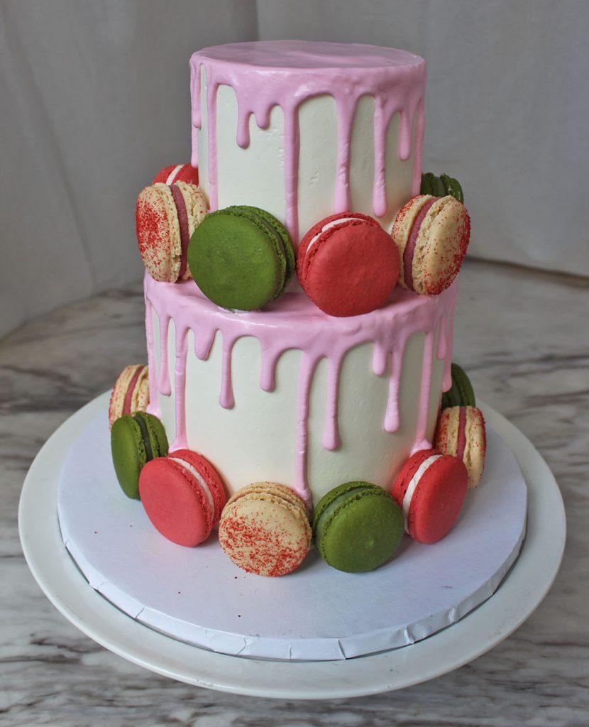 Pink Drip & Macaron Cake