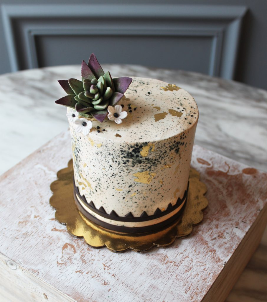 Gold Speckle Succulent Cake