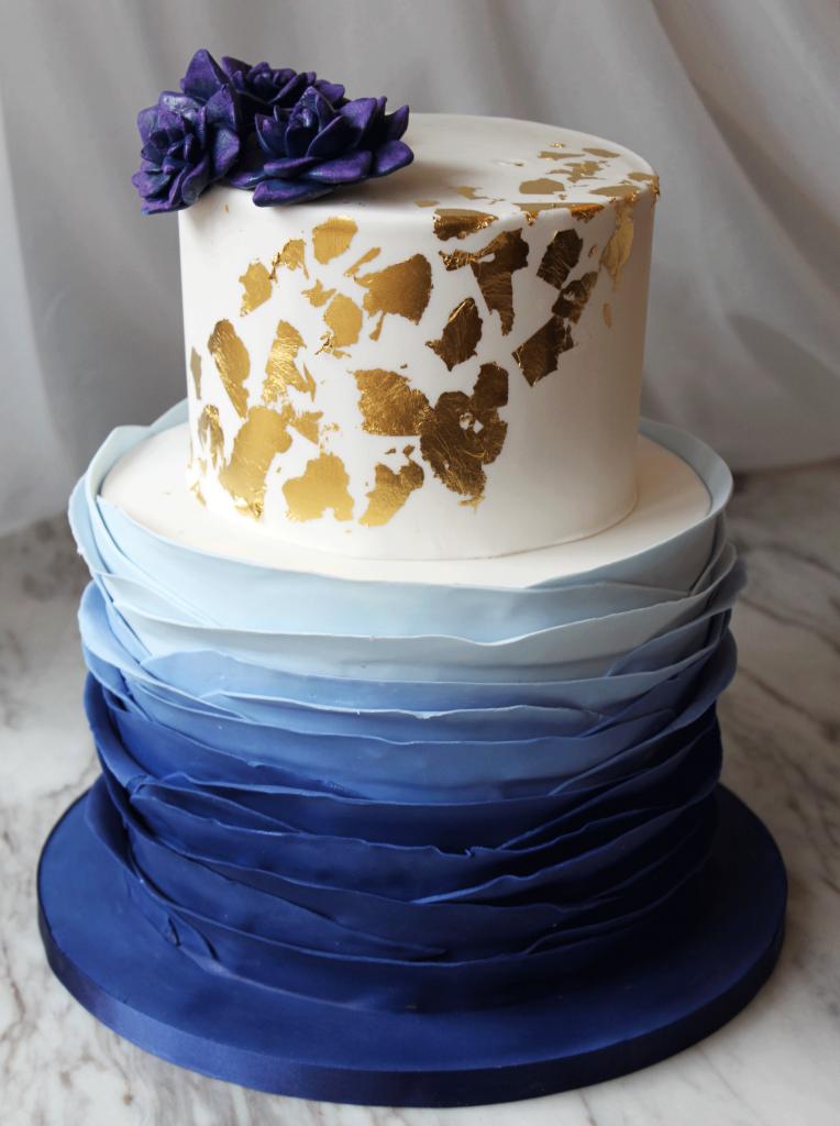 Blue Waves & Gold Foil Cake