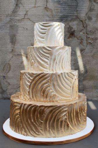 Gold Textured Wedding Cake