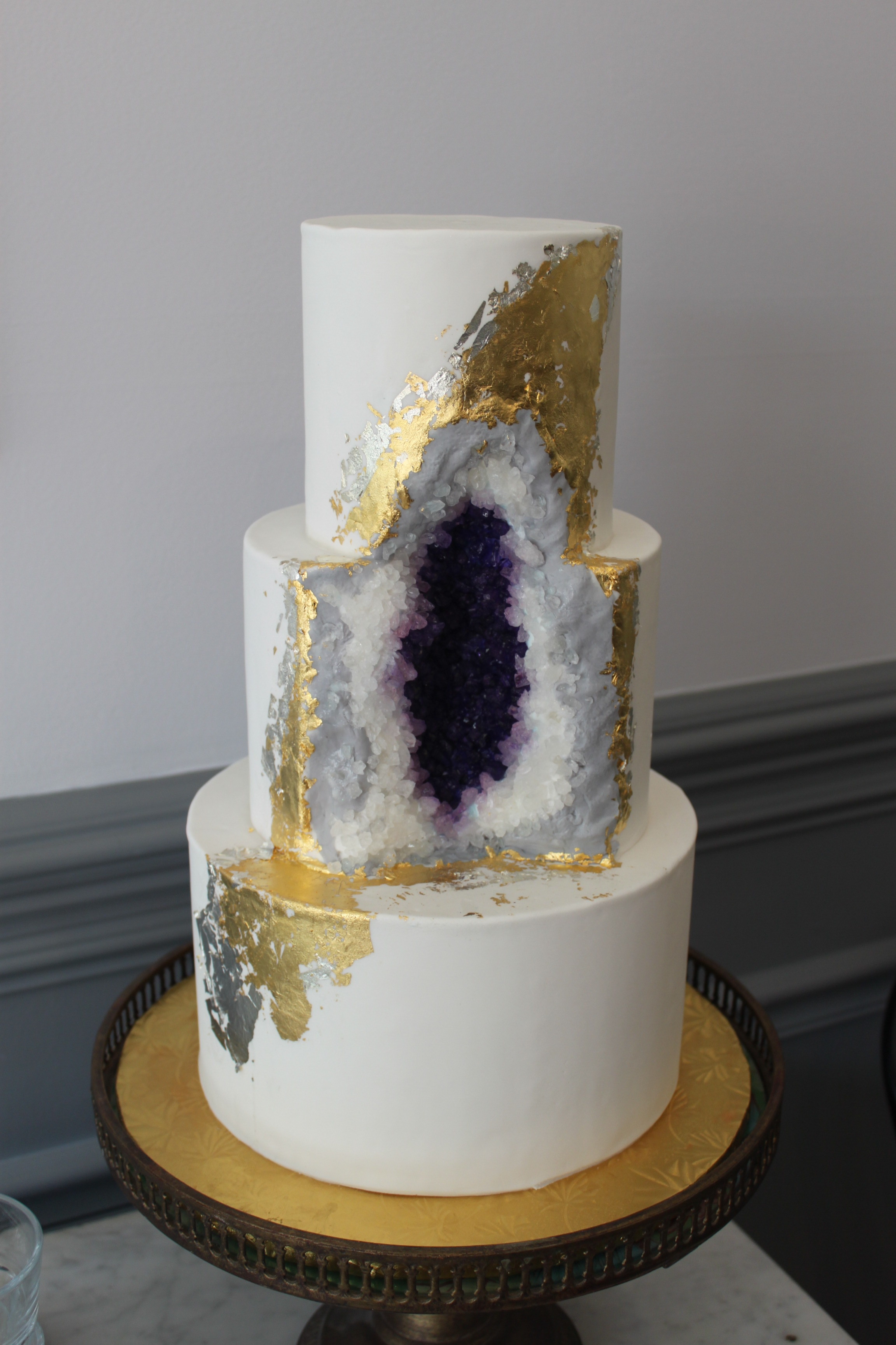 Gold & Silver Geode Cake