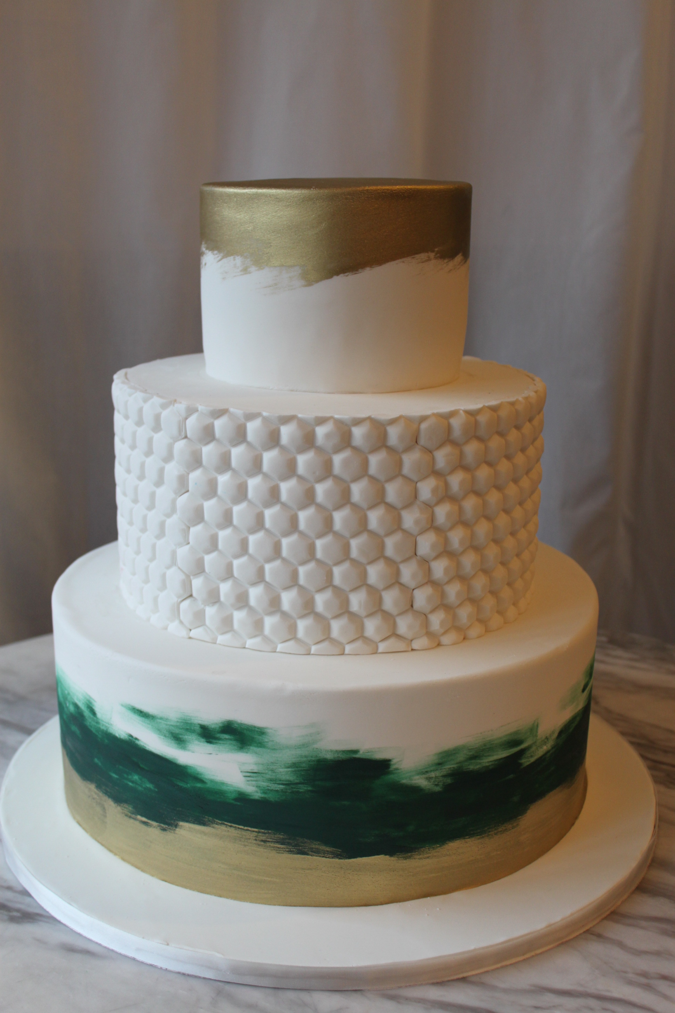 Green & Gold Wedding Cake