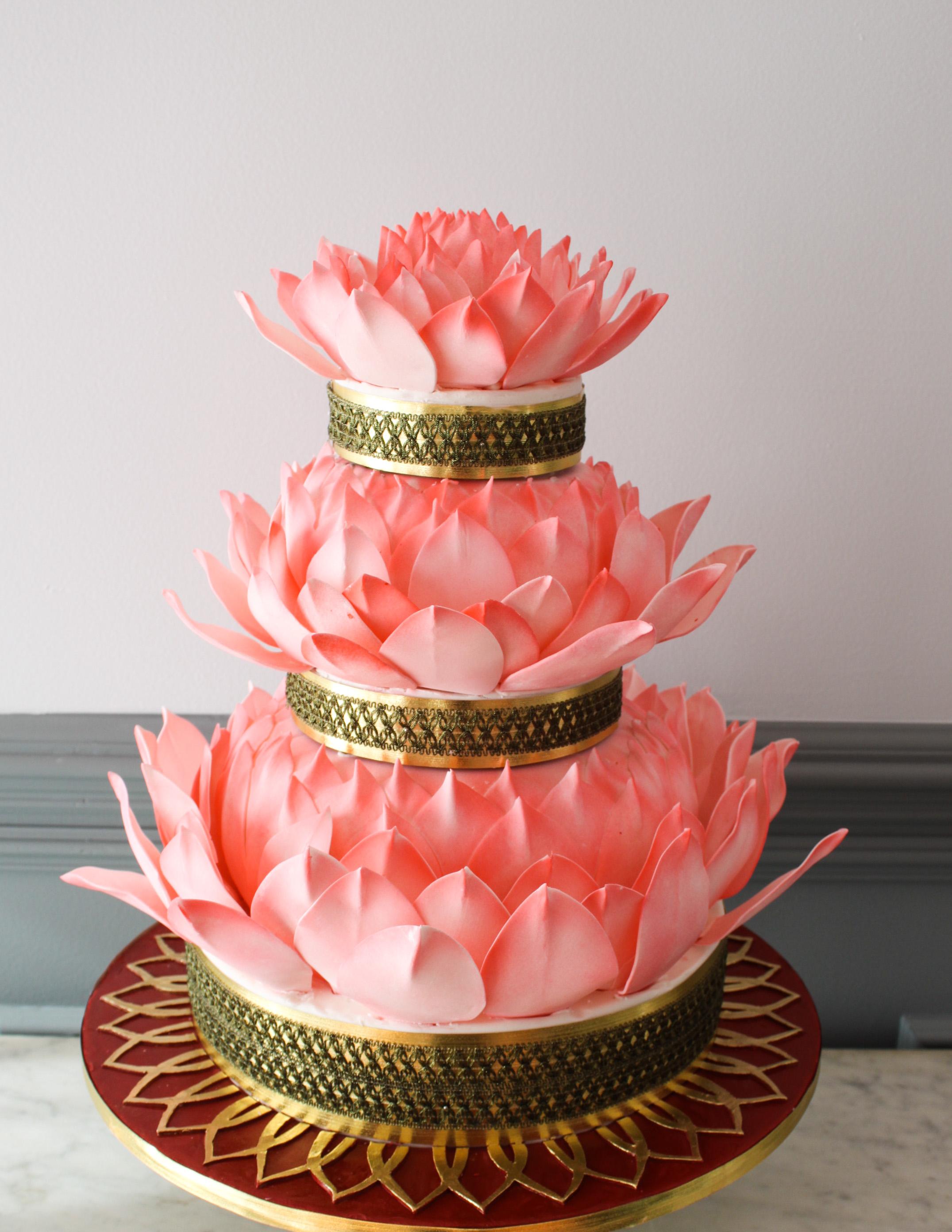 Lotus Flower Wedding Cake