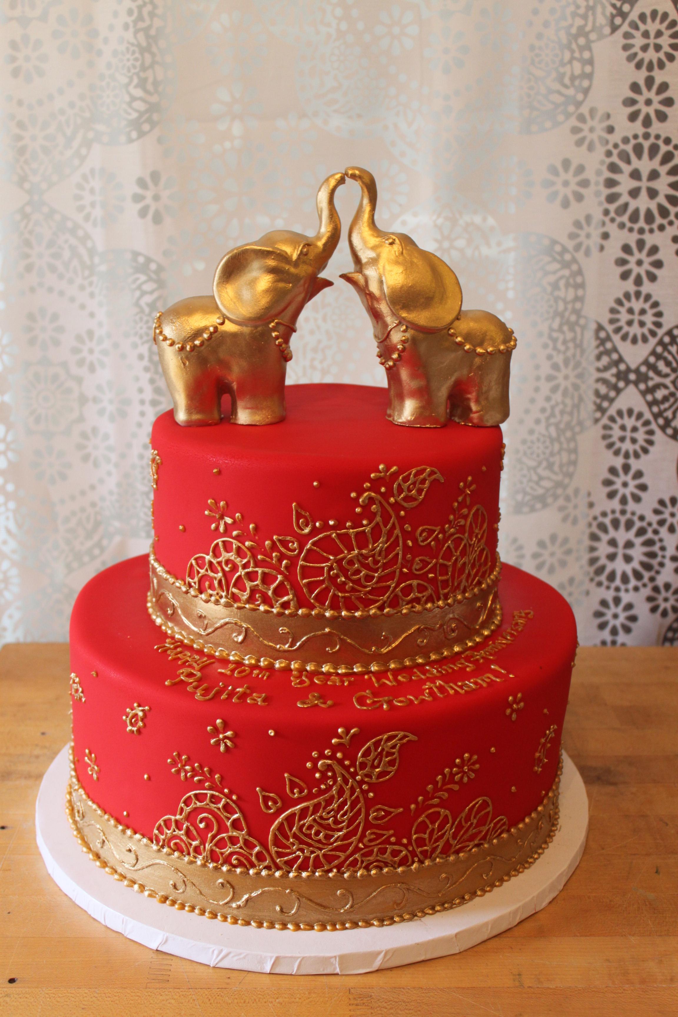 Red & Gold Elephants Wedding Cake