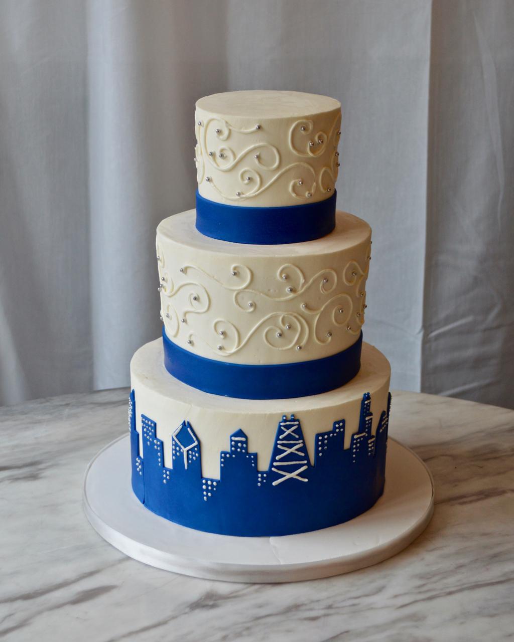 Blue Skyline Wedding Cake
