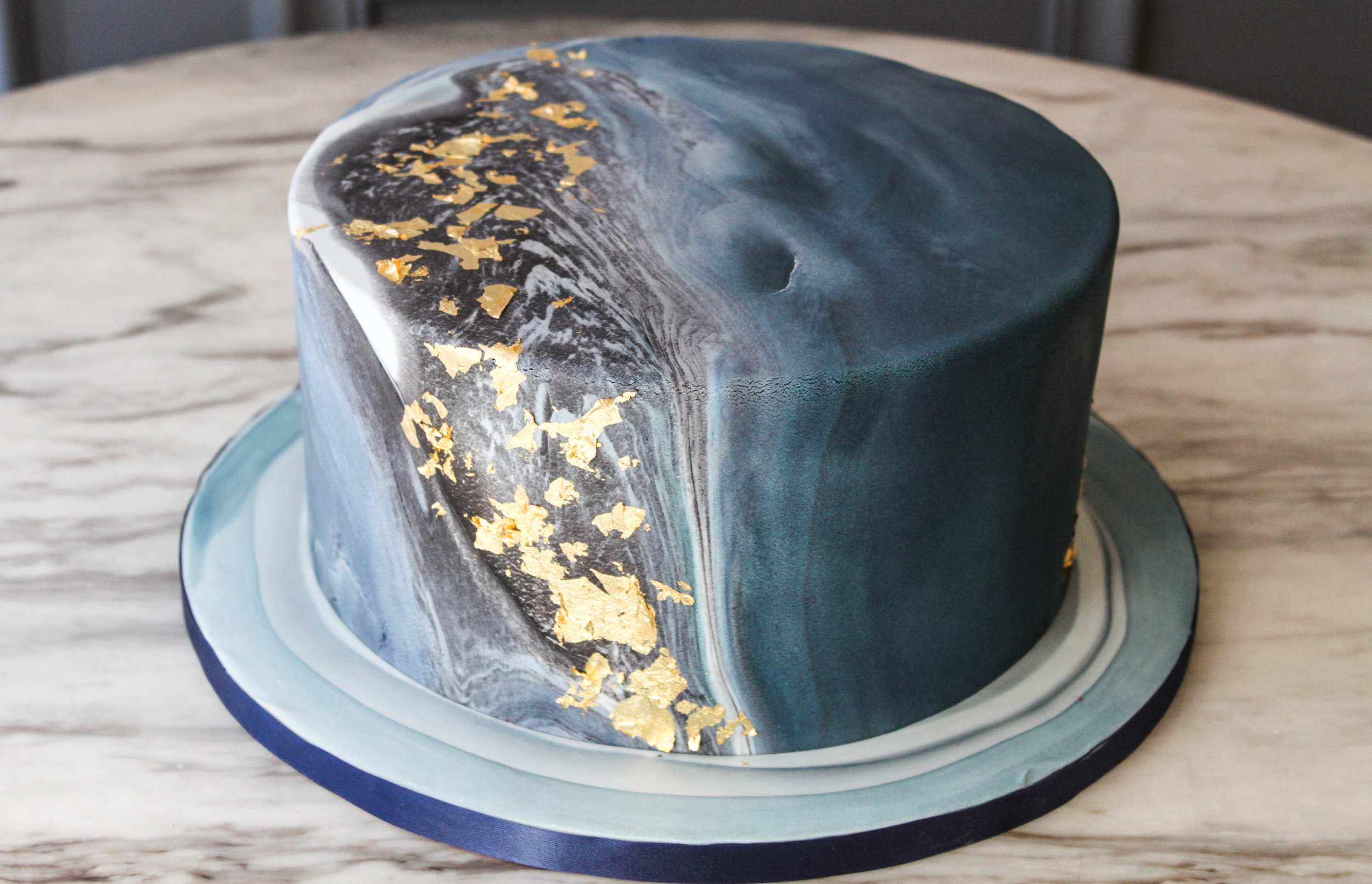 Marbled Blue & Gold Cake