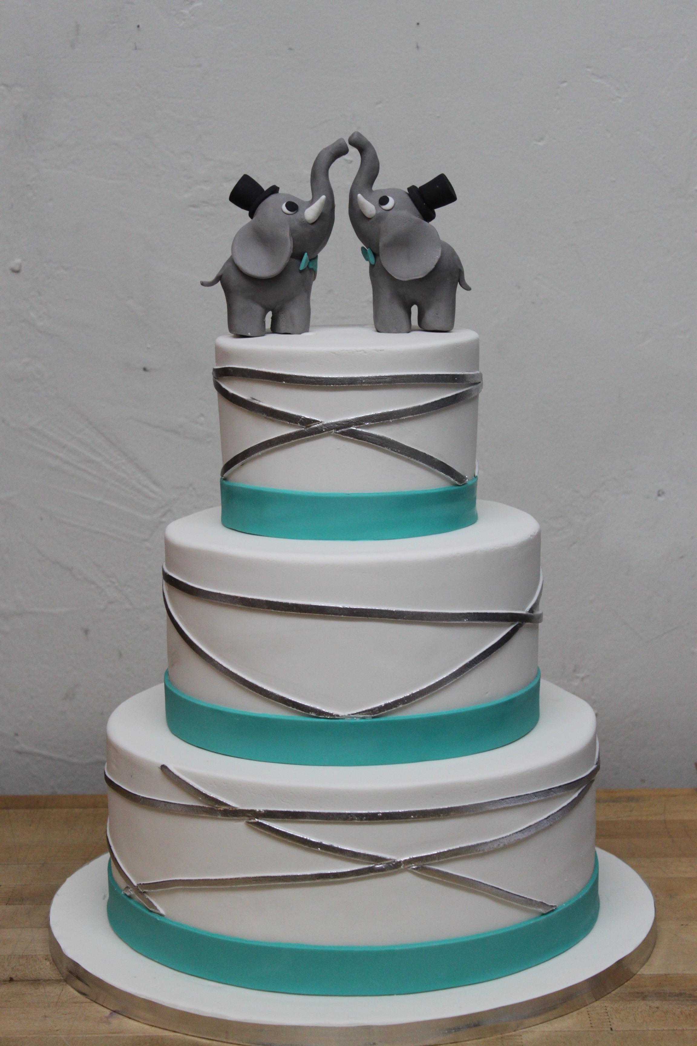 Silver & Teal Elephant Wedding Cake