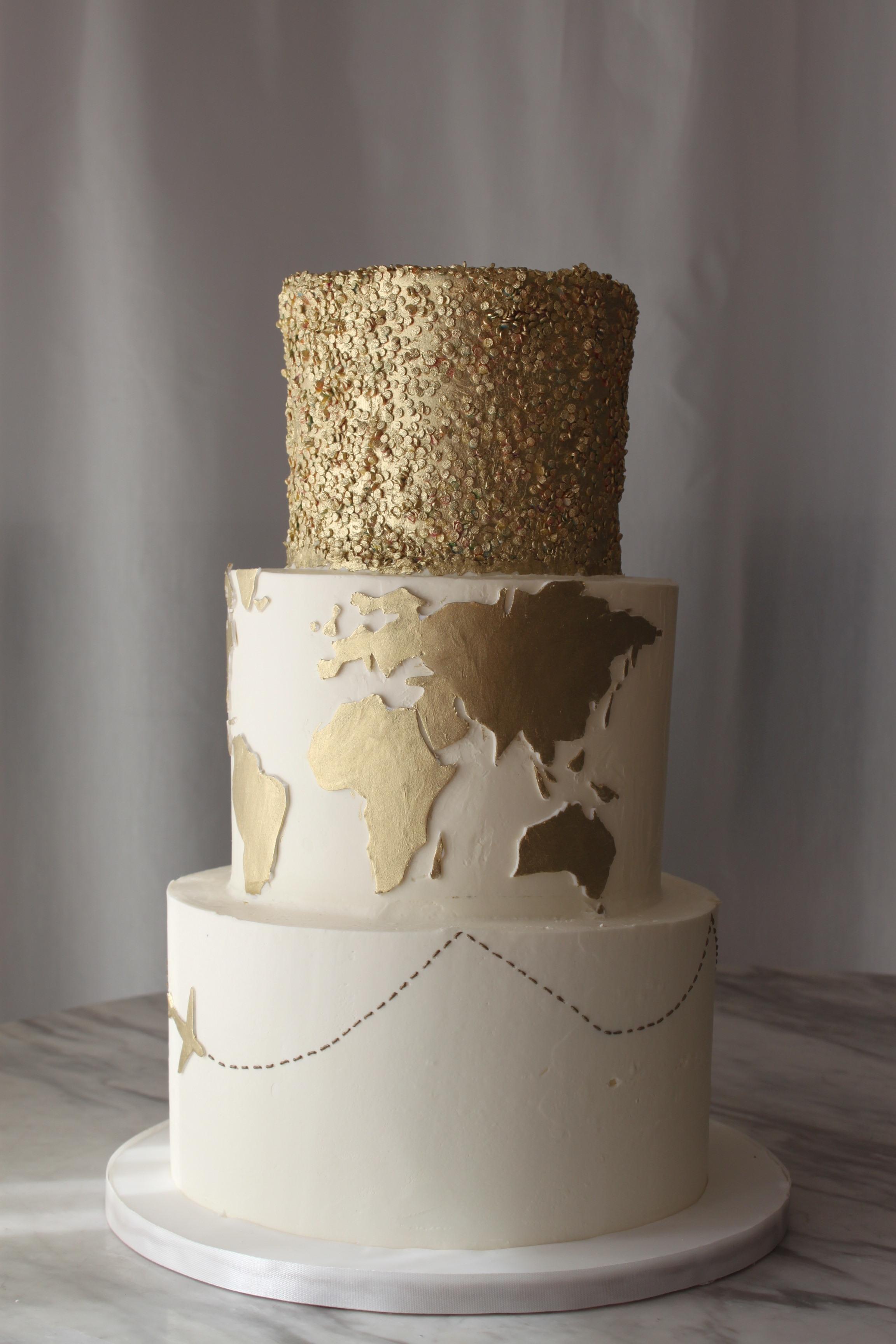 Gold World Traveler Cake
