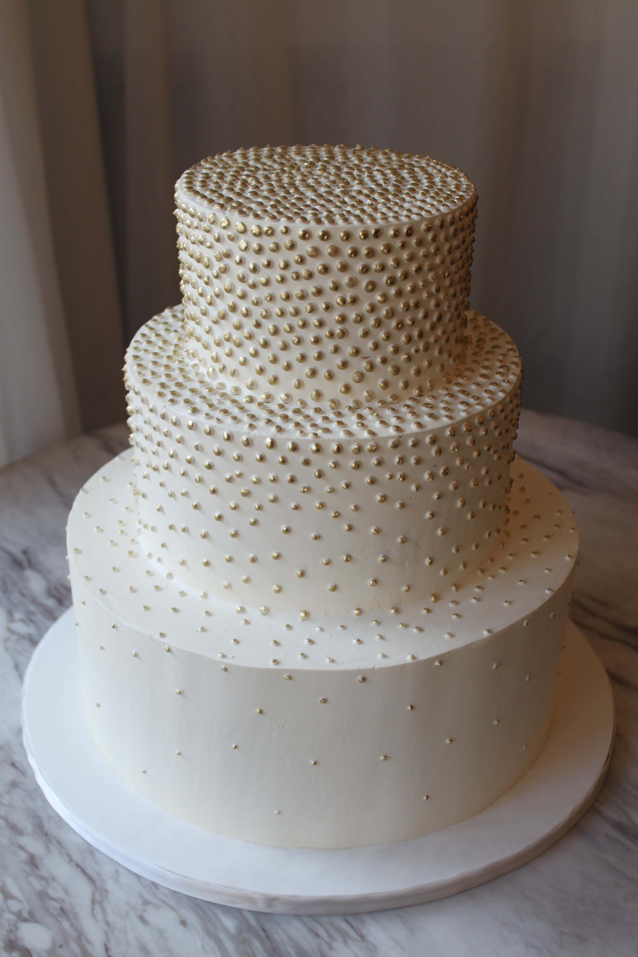Gold Champagne Dot Wedding Cake