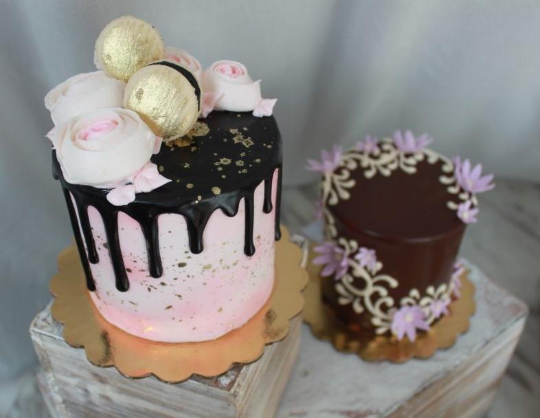 Blush, Gold, Ganache Cake