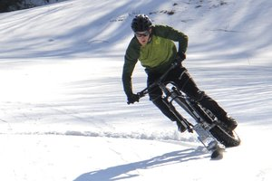 Fat Bike Ski riding on open snow.