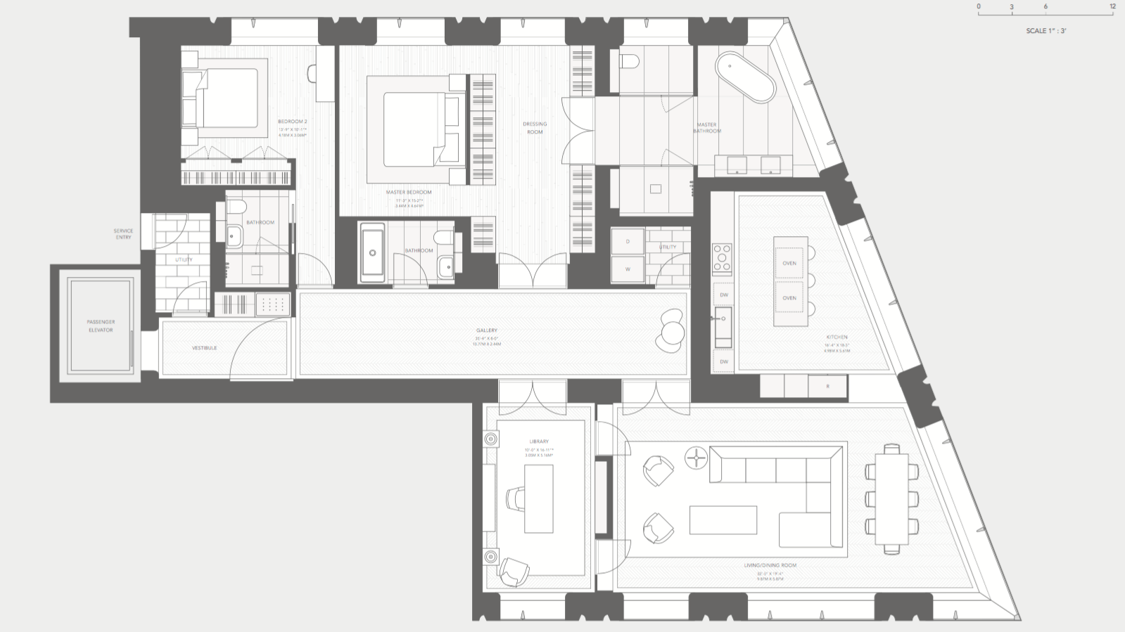 "Exhibit ""A"": The original floorplan of unit 7C, courtesy 551 West 21st Street Owner LLC and Foster + Partners."