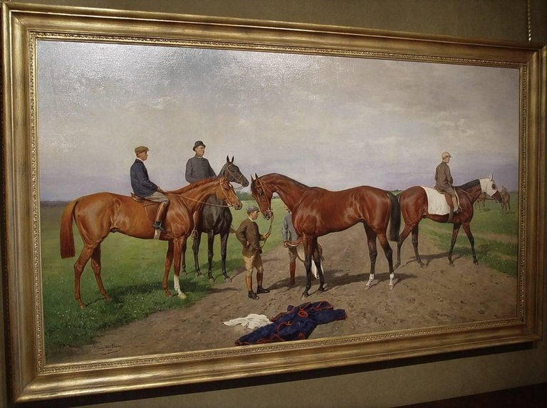 Julius von Blaas:  A magnificent Edwardian painting at the Gallops - racehorses exercising (1905)