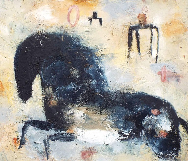 Valentina DuBasky:  Horse and Figures in Grey Field (2017)