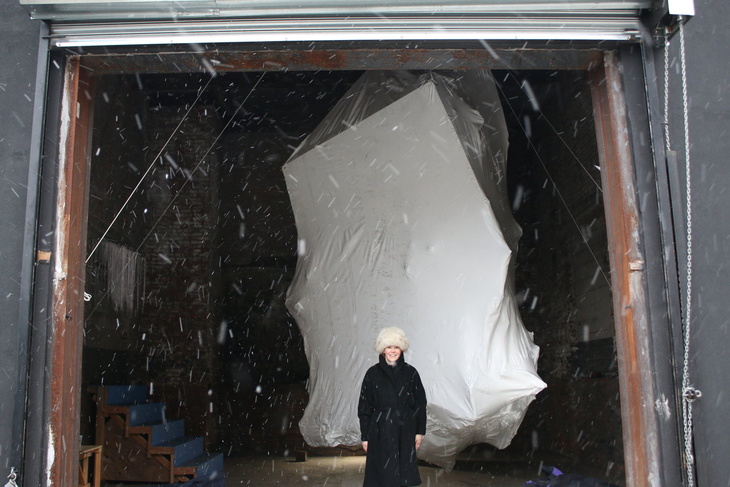 Riitta Ikonen  built a life-sized iceberg in the space, which referred to glaciers and their fate in the age of the Anthropocene.