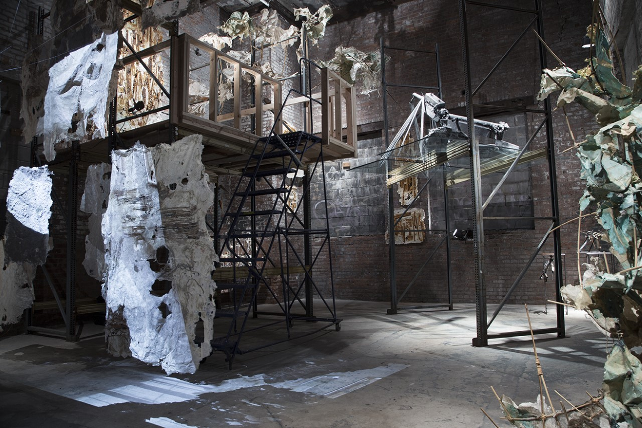 Yasue Maetake  built a 'second floor' in the middle of the gallery that felt like a treehouse, surrounded by work made of recycled, boiled, then beaten abaca bark.