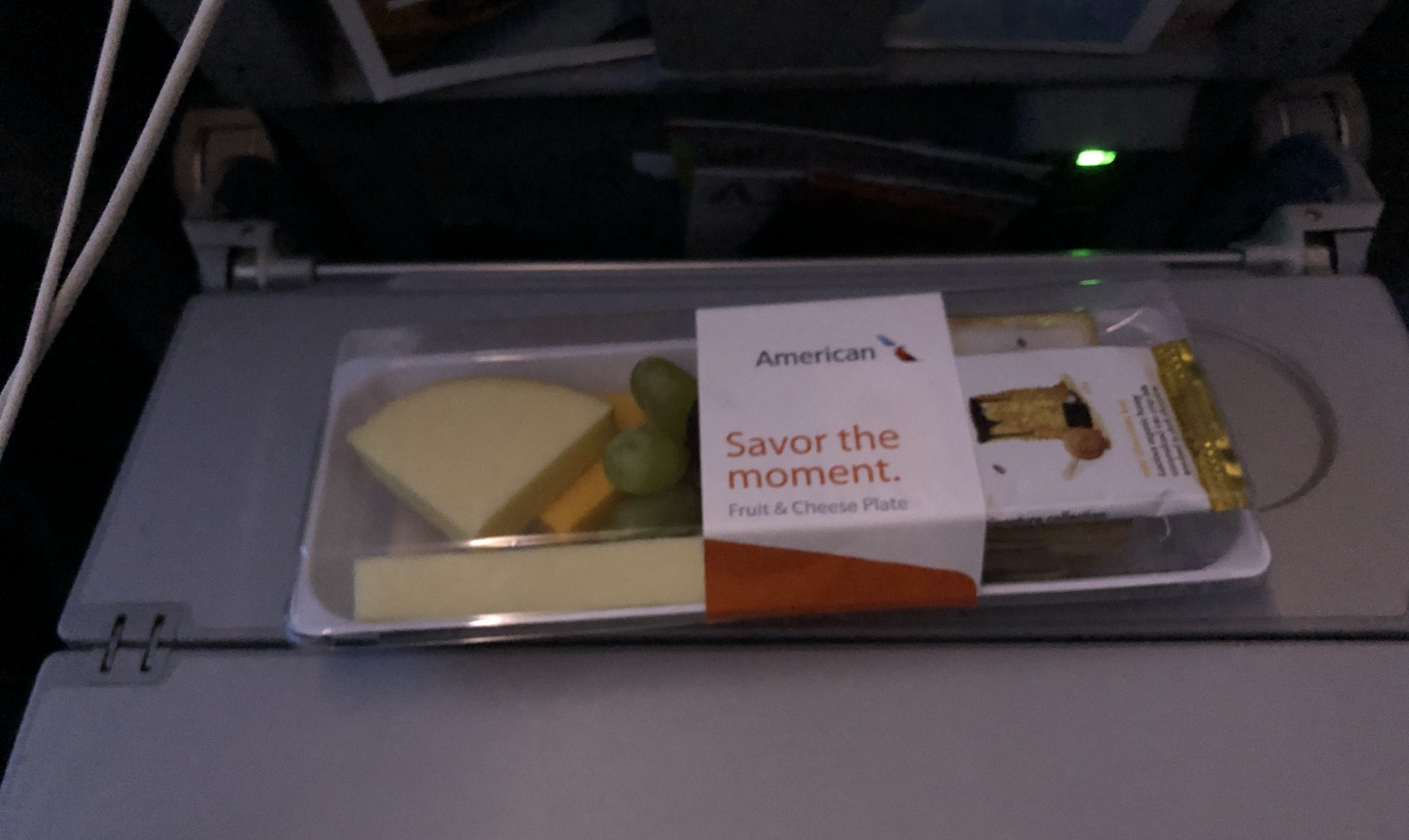 The cheese plate from American Airlines