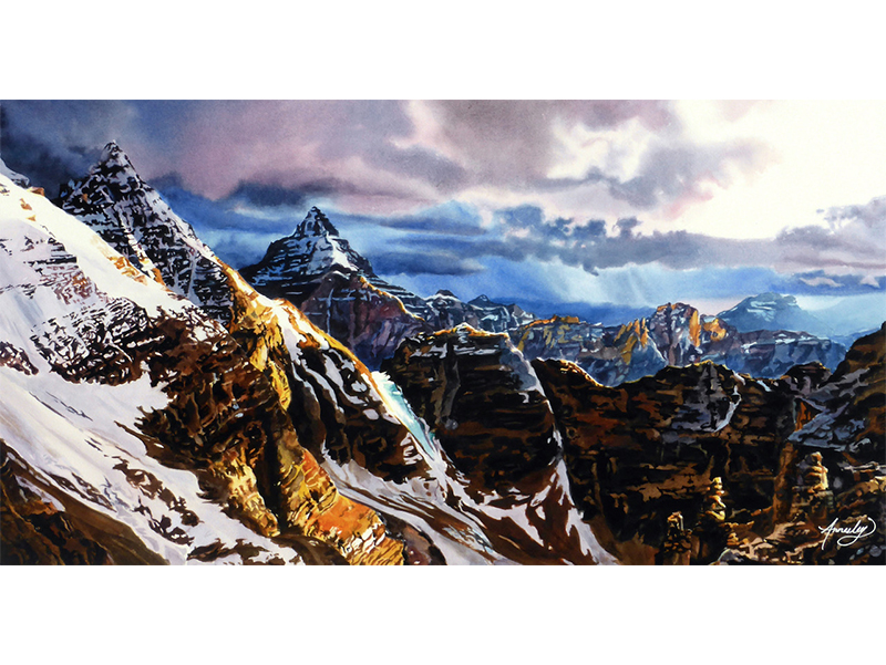 """Jennifer Annesley - Precipice: Watercolour print, 24"""" x 12.5"""" [framed], includes print card packRetail: $625"""