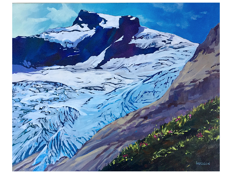 "Phee Hudson - Hallam Glacier: Acryllic on canvas, 16"" x 20"" [framed]Retail: $1500"