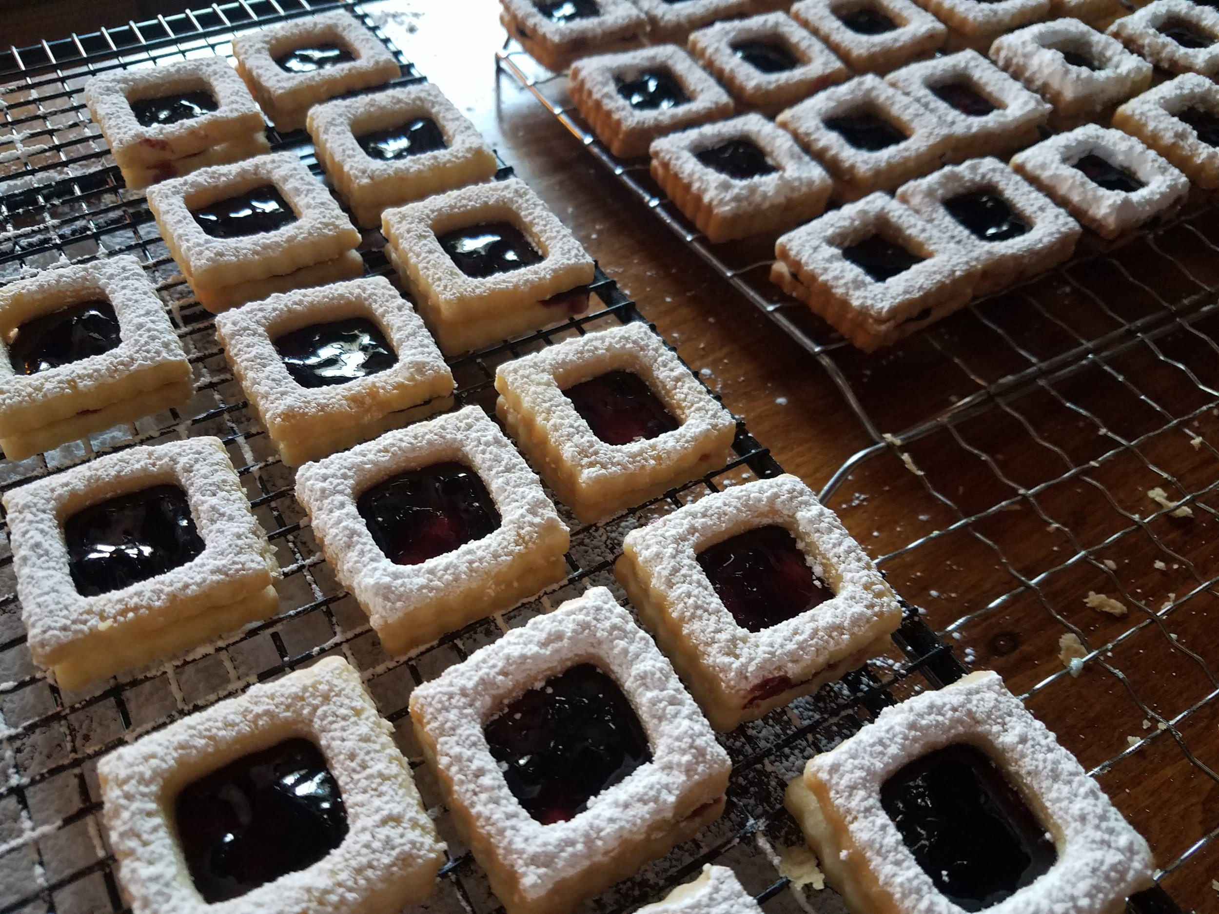 The Bakehouse   is our little cottage bakery that produces small batch cookies, jams, breads, and confections! These Linzers are the Berries! Berries from our farm!