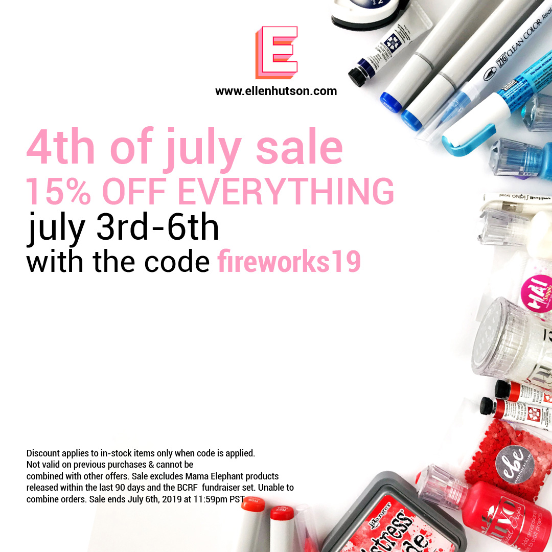 4th of july sale - In other news, there's a sale at the Ellen Hutson shop! CLICK HERE to shop with code fireworks19