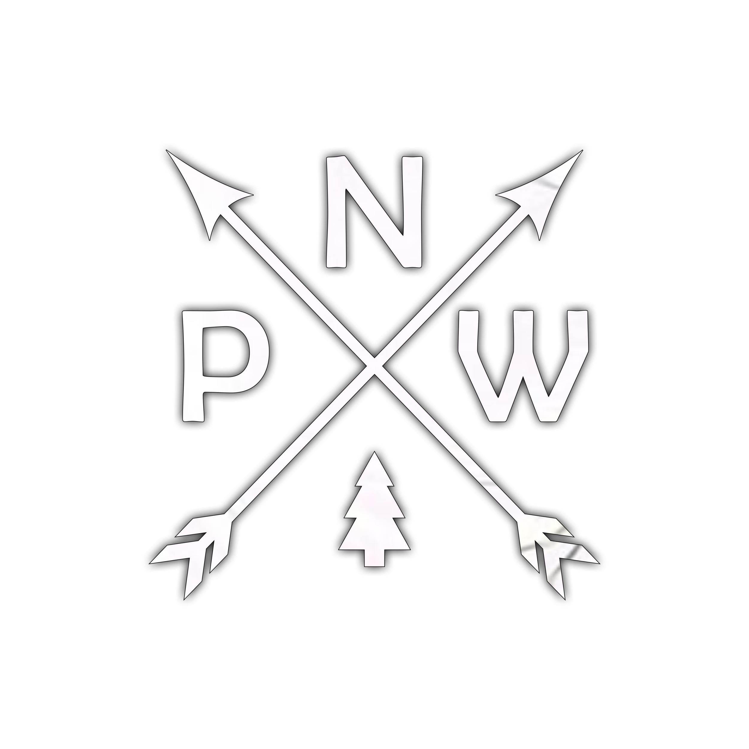 Vinyl PNW Arrow w//Mountains Northwest Decal Sticker Laptop Phone Bottle Tumbler
