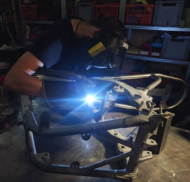 Thanks @intrepidcamera for the shot of @jamesranken 's #NX650 #subframe getting the inside angles finished off. . . . . . #builtnotbought #builtinbrighton #tigwelding #dominator #brightonmotorcycles