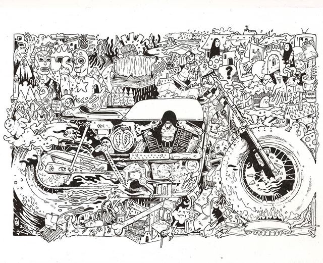 Inky Harley  #drawing #illustration #motorcycle #caferacer #custom #art #harley