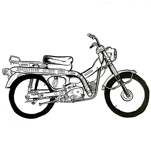 Drawing some of the best bikes of all time, starting with the classic honda CT90 - utilitarian looks, a high pipe, knobbies and 7hp 👌