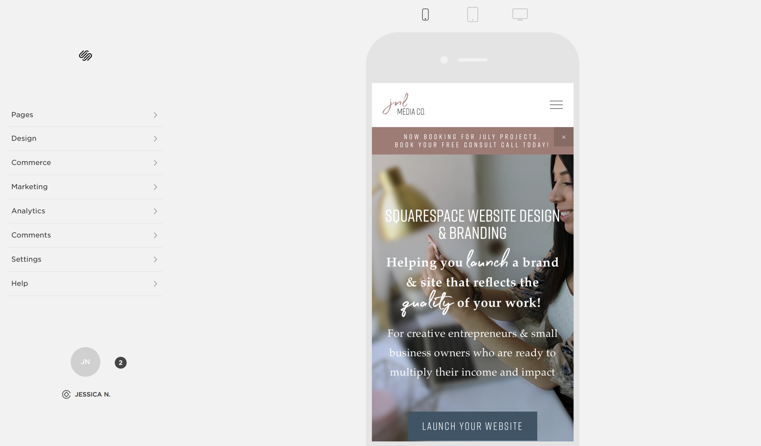 """Change """"Device View"""" to Mobile on Squarespace"""