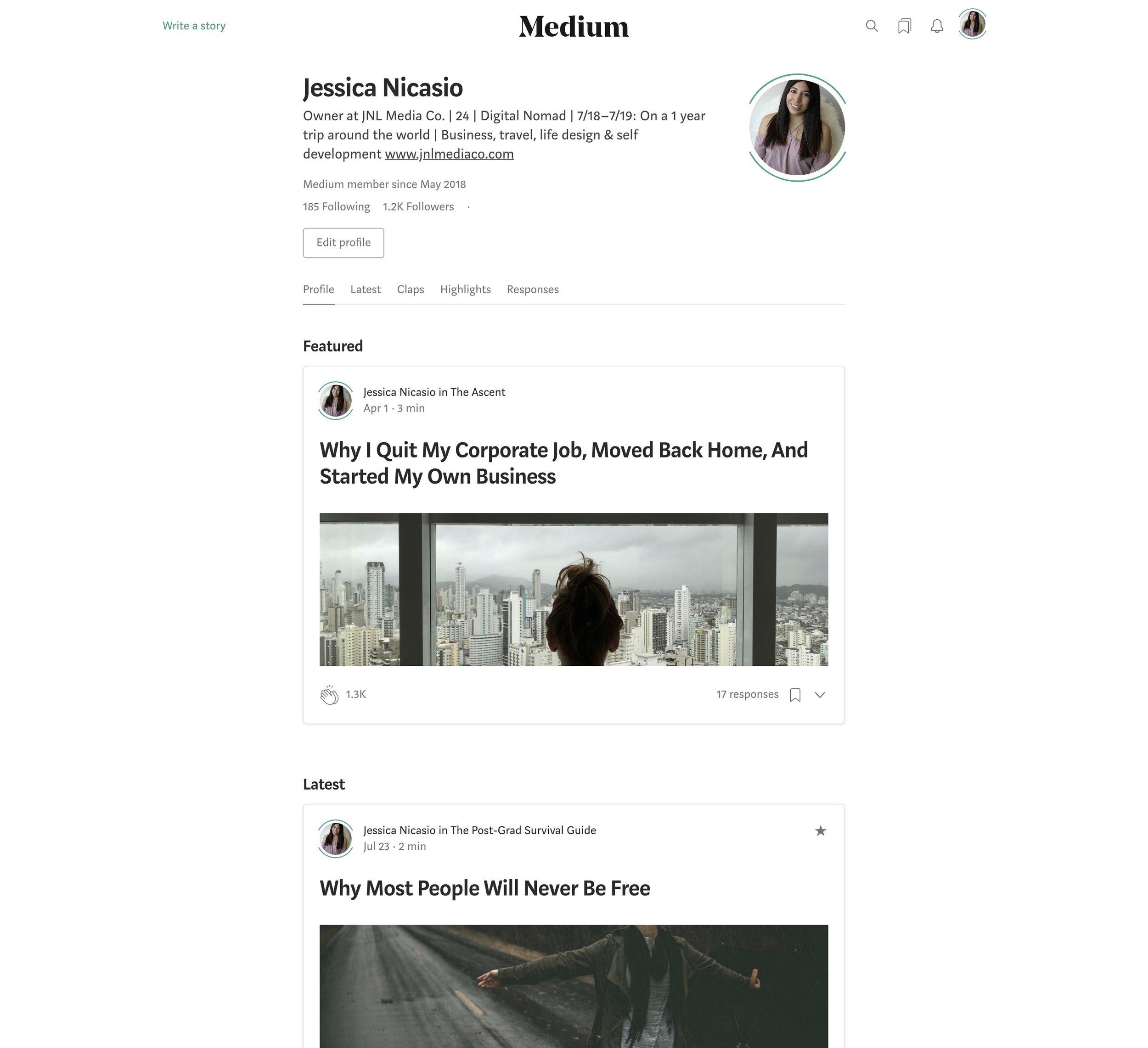 My Medium profile