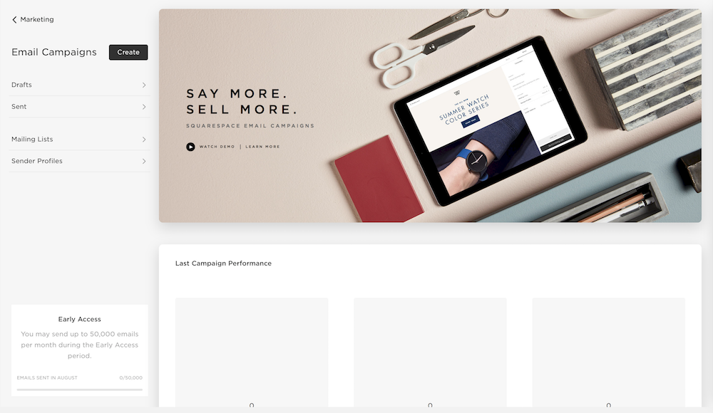 Squarespace Early Access for Campaign feature