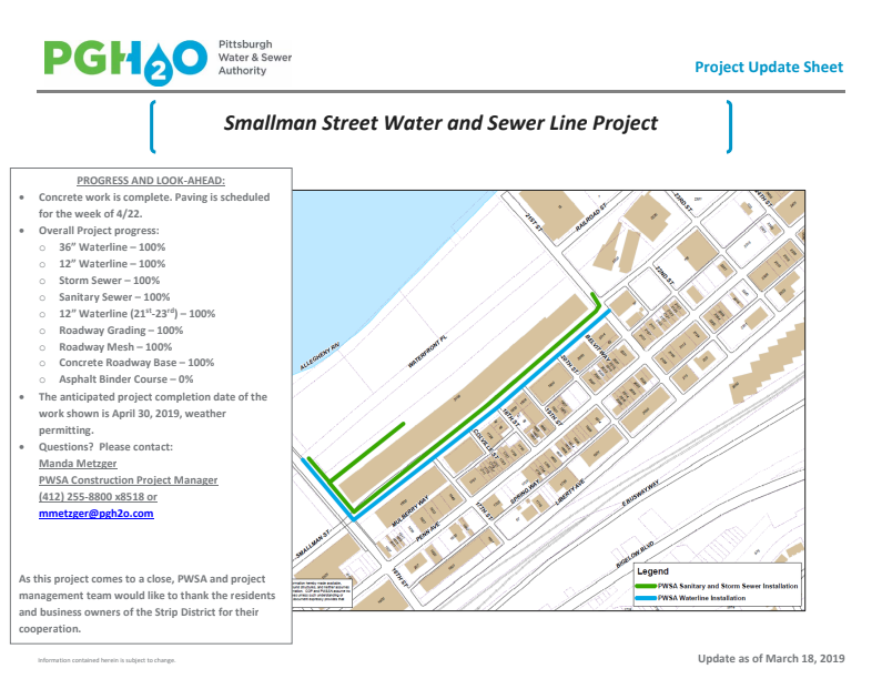 Pittsburgh Smallman Street Water and Sewer Line Project