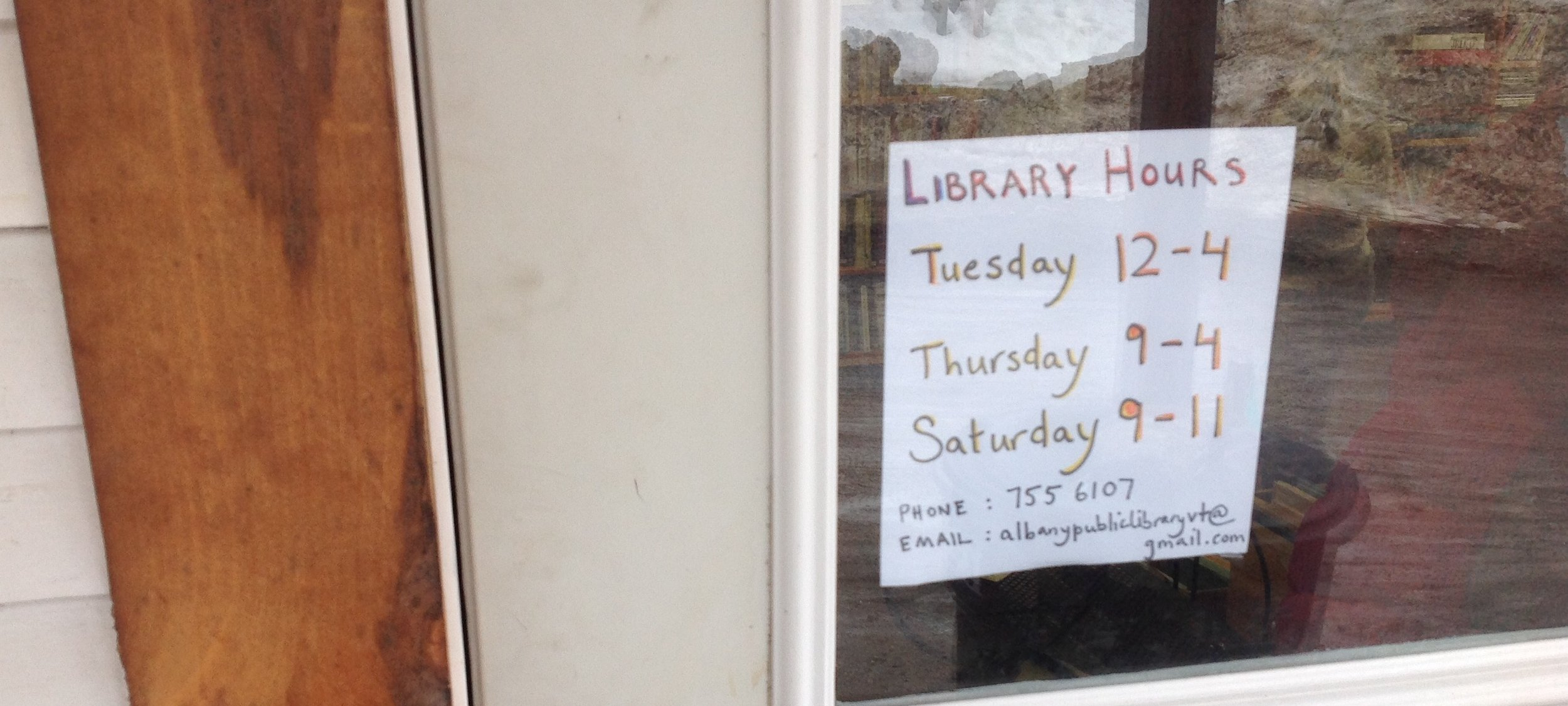 Library Hours: Tues 12-4, Thurs 9-4, Sat 9-11, StoryHour: Thurs 9-11.