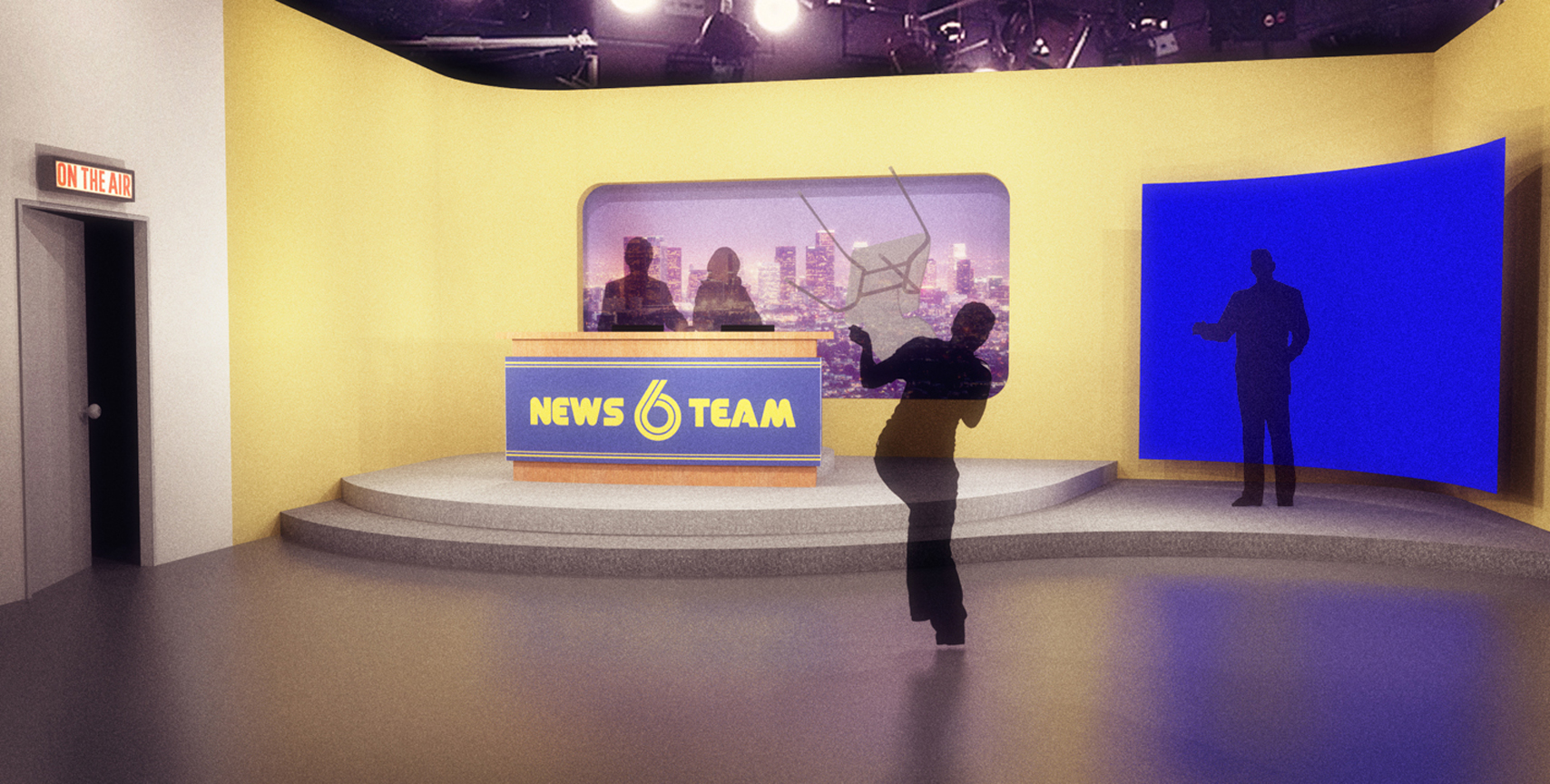 NEWS TEAM SIX, ASHLEY BURSTS IN AND THROWS A CHAIR - 3D RENDERING