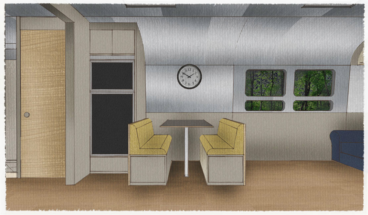 SIOBHAN'S TRAILER - 3D MODEL DINING VIEW