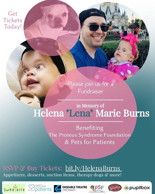 """Please join us for a fundraiser benefitting @petsforpatients & The Proteus Syndrome Foundation in loving memory of Helena """"Lena"""" Marie Burns.  Helena, a name which means """"bright shining light"""", was a warrior from day one and lived fully throughout her short but mighty life. She was strong and brave, feisty and tenacious, sweet and beautiful.  On August 17th, we will honor Helena's beautiful life as we raise money for two organizations that are near and dear to the Burns Family. Link in bio for tickets 💕 • • • #petsforpatients #proteusfoundation #proteussyndrome #proteussyndromefoundation #mydogismytherapy #companiondog #sweeterie #graeters #ensembletheatre"""