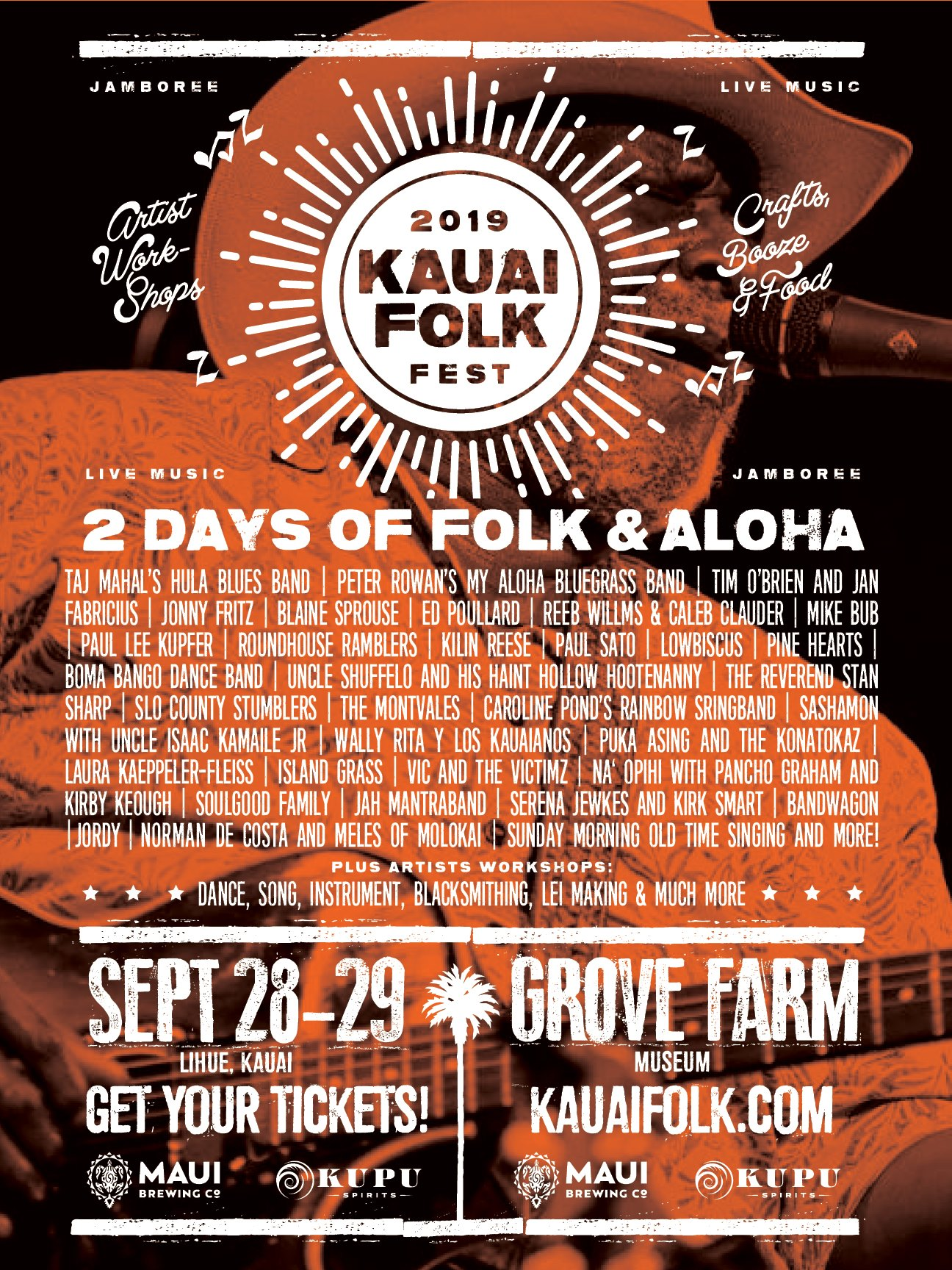 KAUI FOLK FESTIVAL + SASHAMON    The KAUAI FOLK FESTIVAL lineup is one to drool over. Head over to  www.KAUAIFOLK.com  to sneak your peak at it.   The Kauai Folk Festival  (September 28-29 at Kauai's Grove Farm Museum) is two full days of music, dance, craft, food, and drink in one of the most beautiful settings on Earth.   Two Days Of Folk And Aloha    Sept 28 - 29, Saturday and Sunday   Historic Grove Farm Museum,34+ Live Music Acts, Five Performance Stages ,Crafts and Workshops, Food and Booze, Family Fun, Much More...!  ....A Whole Bunch of Boot Stomping, Rump Shaking, Kauai Loving, Hooting And Hollering Good Times!Mike Love Band Sat, Sep 28, 2019, 11:00 AM – Sun, Sep 29, 2019, 11:00 PM HST 5-2723 Kuhio Highway, Kilauea, Kauai Tickets: $60 – $300 Available at:  https://www.eventbrite.com/e/kauai-folk-festival-tickets-58325836146  TICKETS ON SALE NOW