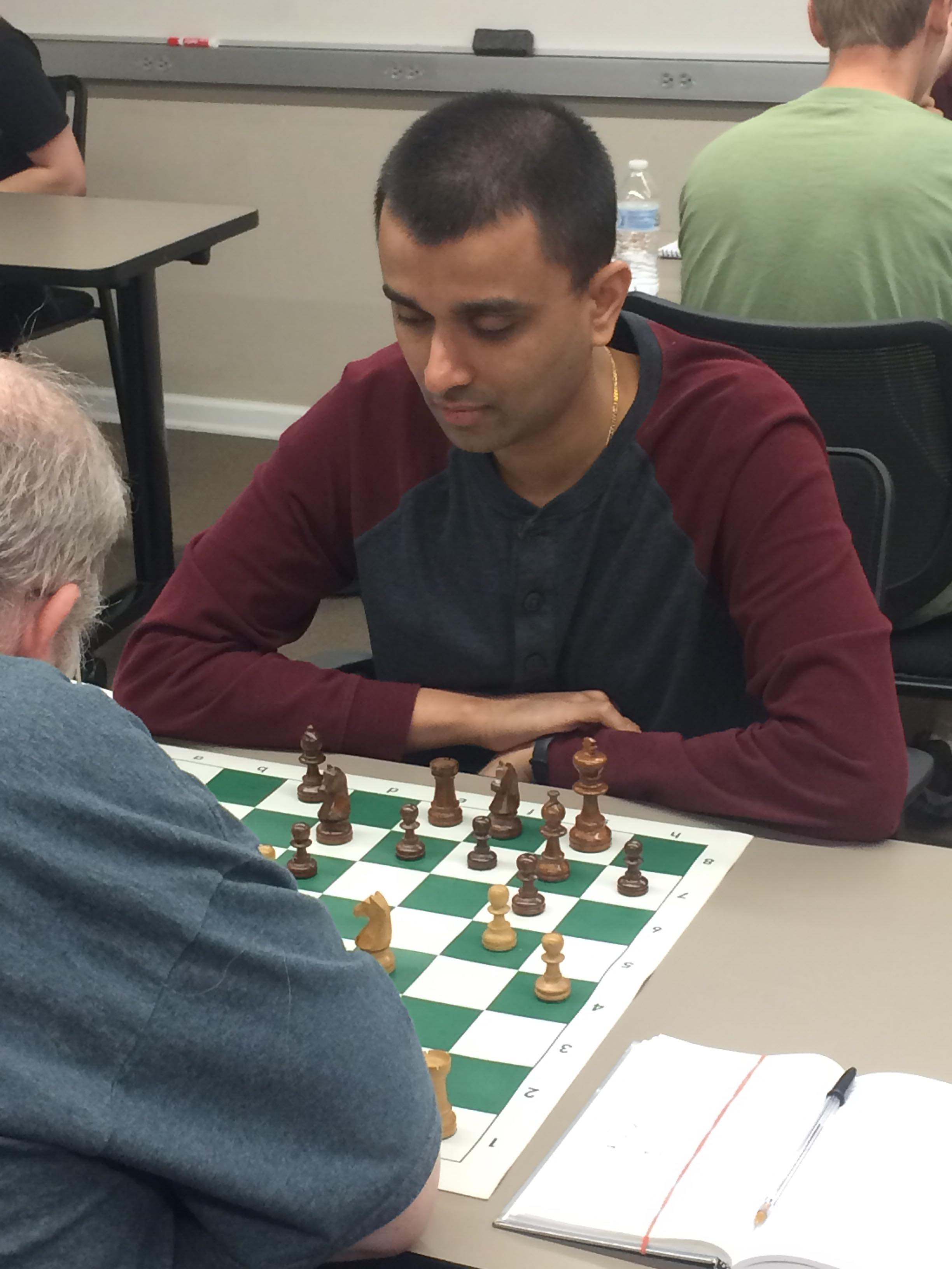 Tejas Thorat in his First Round Match-up with Kirk Petty. Photo Credit: RasberryChess