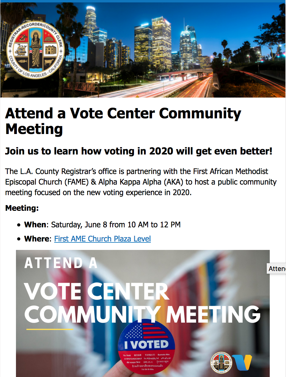 Active Links:  •  Cal State Los Angeles Downtown, 6th Floor-Room 624   •  Full list of community meetings   •  vsap.lavote.net
