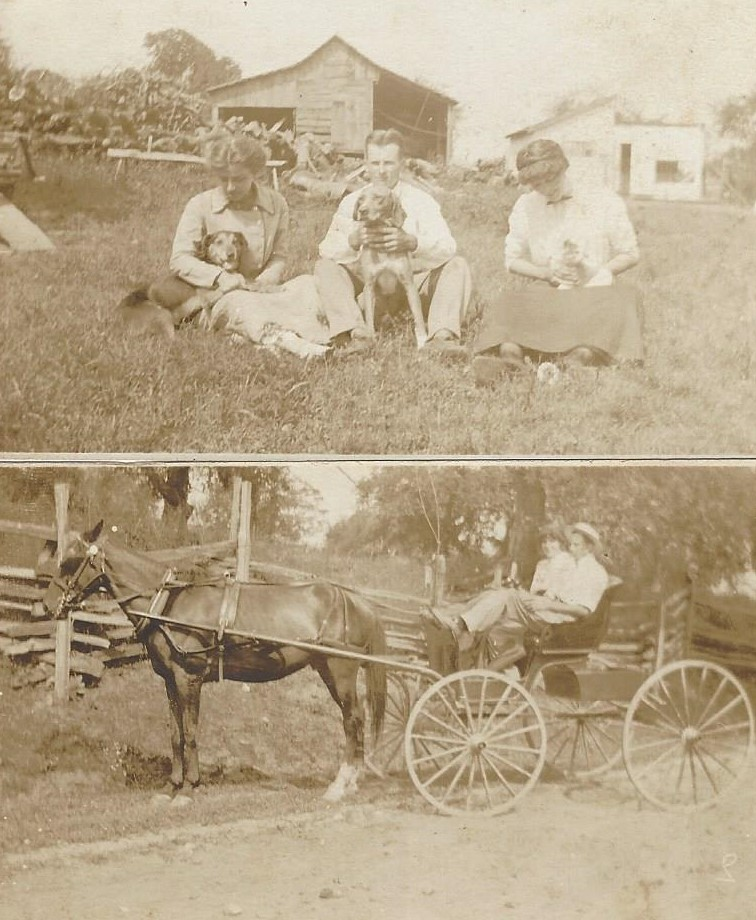 old farm 3people in barnyard horse buggy with 2people.jpg