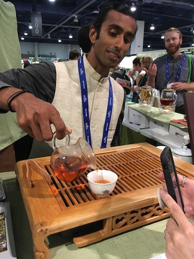 Raj Vable of Young Mountain Tea pouring out an experimental black tea from Kumaon Hills that kept many of us coming back for seconds, thirds, and fourths.