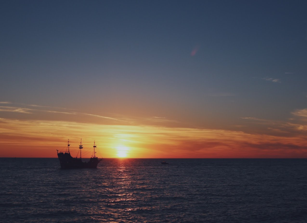 Pirate ships are another Tampa Bay obsession-- so a pirate ship during sunset is like the ultimate photo op!