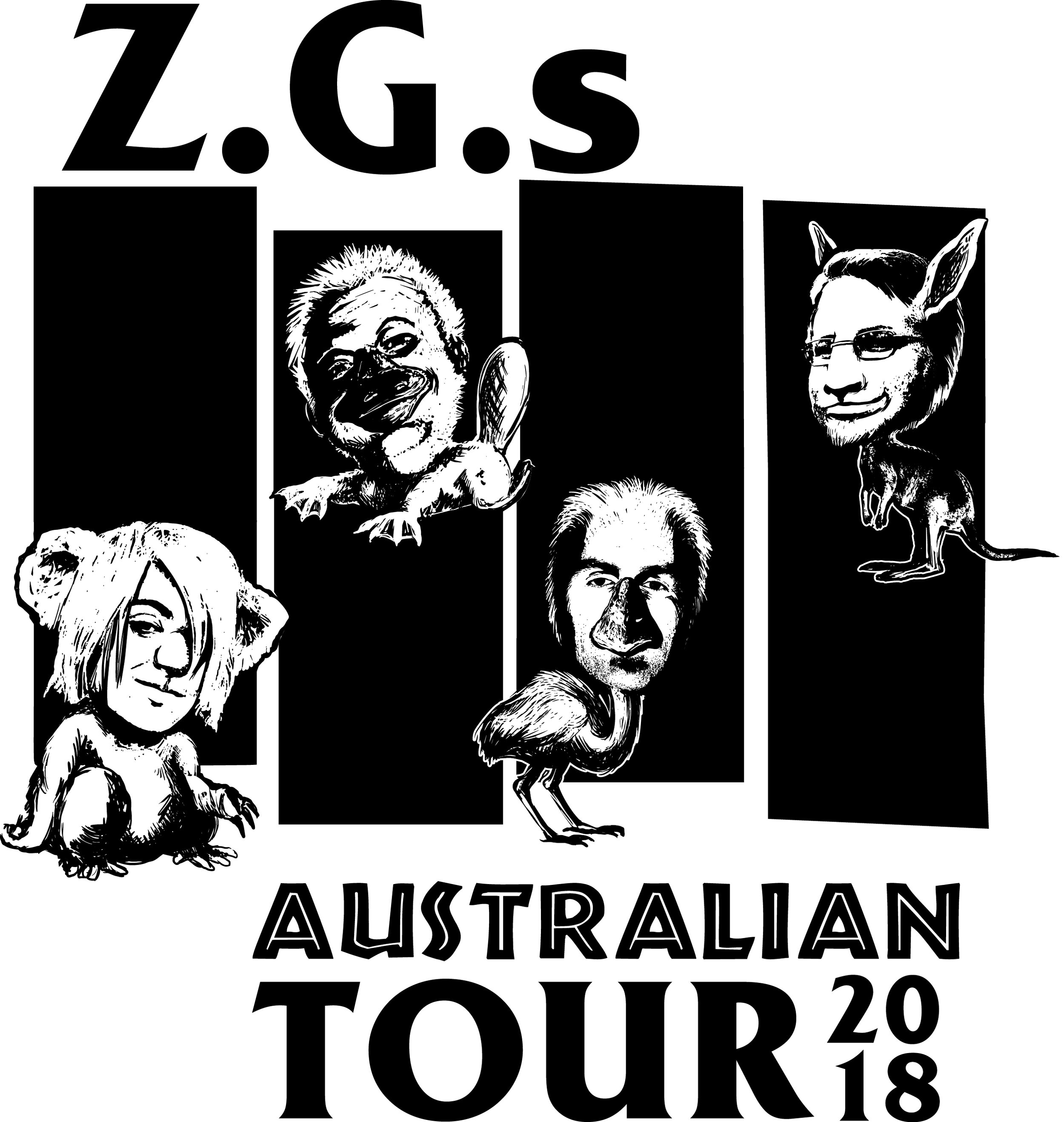 The Z.G.s Australian Tour T-Shirt Design.